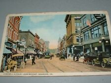 1921 Roanoke, VA Postcard Campbell Ave, Businesses, Army Recruiter office, cars