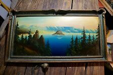 Antique Oil Painting Crater Lake Oregon Wizard Island in Pie Crust Frame (208.2)