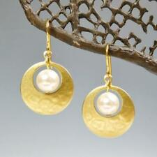 Marjorie Baer Small Cutout Disc with Swarovski Pearl Earrings Unique Modern