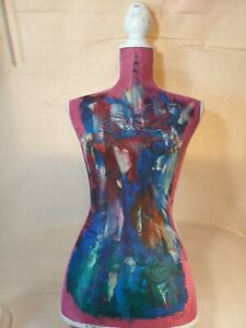 Full Size Female Mannequin Torso Fabric Covered Trimmed And Painted Used See Pic