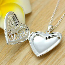 Vintage Love Gift Silver Picture Locket Hollow Heart Photo Case Pendant Necklace