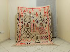 "Handmade Vintage Moroccan Rug 4'98""x6'56"" Feet Berber Moroccan Beniourain Carpet"