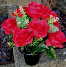 Artificial Red Rose  Silk Flower Arrangement Cemetery Memorial Grave Pot Vase