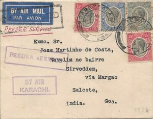 To/From -1932 - Cover from British mandated Tanganyika to Portuguese India