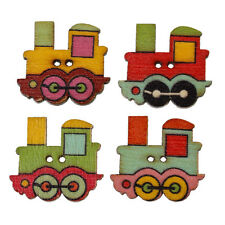 10 Wood Novelty Colourful Train Sewing Buttons  25 x 22mm, crafts scrapbook
