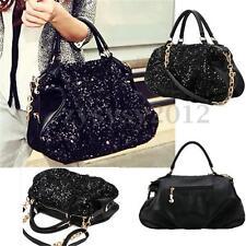 UK Women Large Bling Sequins Handbag PU Leather Tote Shoulder Bag Purse Satchel