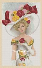 Elegant Lady 156f Cross stitch chart   Flowerpower37-uk.-.free uk P&p
