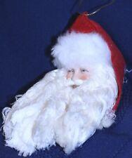"Vintage Santa Claus Ceramic Head Christmas Ornament 6"" tall Taiwan yarn beard"
