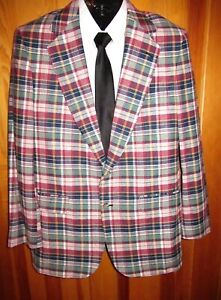 Vtg Woolrich Madras Plaid Blazer 2 Button Vented White Satin Lined Size 42L