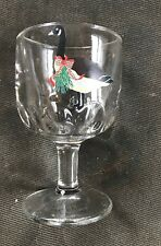 New listing Holiday Wreath Goose Beer Wine Water Goblet Glass Notched Heavy Christmas Euc