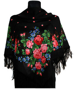 Authentic Woman Girl Russian Floral Pavlovo Posad Scarf Shawl Stole 100% Wool
