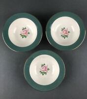 Vtg Lifetime CAMEO Rimmed Fruit Dessert Bowls Pink Rose Green Border Set of 3