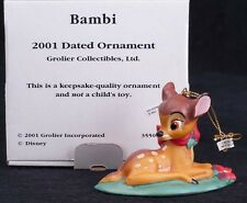 Grolier Disney Bambi 2001 Christmas Ornament Porcelain Laying Down 35500993