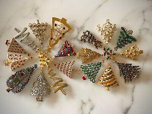 Lot of 20 Quality Christmas Tree Brooch Pins: Multicolor Rhinestone, Enamel, etc