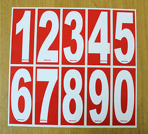 4 x White numbers on Red background - European/OTK Race Karting Numbers