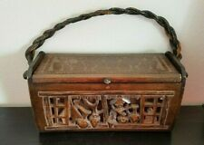 Rare Carved Wooden Box Purse Felt Lined Artist Signed