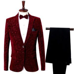 Men Suit 2Pcs Velvet Lapel Tuxedo One Button Jacket Pants Groom Blazer Wedding
