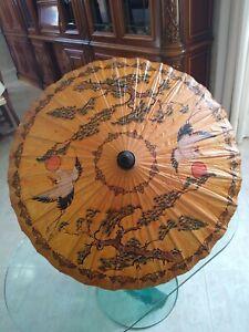 Wagasa Ombrello antico giapponese carta xilografia dipinto a mano bamboo cinese
