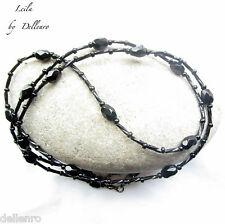 ✫ Leila ✫ Con Cuentas De Cristal Negro Gafas Collar Gafas Cadena Titular