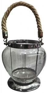Glass Hanging Lantern TLight Candle holder chrome and rope finish 15x14cm gift