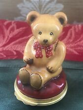 Halcyon Days Enamels Christmas Sitting Teddy Bear Trinket Pill Box!