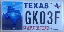 Texas SAVE WATER license plate Environment Conservation Wildlife Plant drink