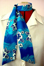 ROCKABILLY/ROCK N ROLL NECK SCARF HAIR TIE HEADBAND BLUE & WHITE HIBISCUS PRINT
