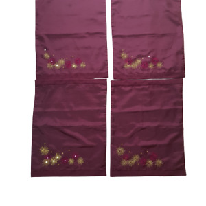 Virgin Vie at Home Placemats 4x Embroidery Sequins Aubergine Burgundy FLAW