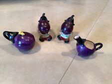 Enesco Vintage Anthropomorphic Eggplant Salt Pepper Shaker & Cream & Sugar 4 Pc
