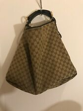 Authentic Gucci Horsebit XL Hobo Brown & Beige Monogram Canvas Leather COA