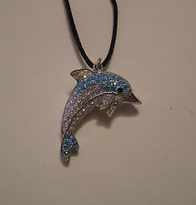 "SWAROVSKI  AQUA & AB CRYSTAL ELEMENTS ""DOLPHIN"" PENDANT NECKLACE ON SATIN CORD"