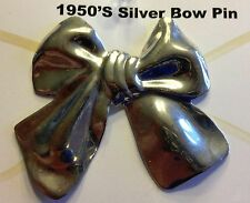 Vintage Silver or Silvertone Bow-shaped Brooch