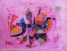 PIERRE*DE*BERROETA*PEINTURE*ORIGINALE*ART*MUSEE*GOUACHE*ROSE*1990RARE*COLLECTOR