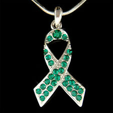 w Swarovski Crystal ~Liver Cancer Homeopathy Ribbon Emerald Green Charm Necklace
