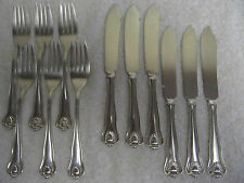 antique american sterling silver fish set 12pces Bigelow Kennard Pearls & shell