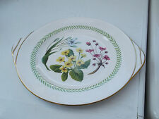 SPODE TWIN HANDLED BREAD PLATE WITH A PATTERN OF GARDEN FLOWERS
