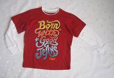 LEVI'S Boys 100% Cotton Raglan Long Sleeves Red / Cream Graphic T-shirt Size 4T