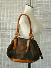 Holding Horses Anthropologie Black Metallic Wash Suede & Brown Leather Hobo Bag