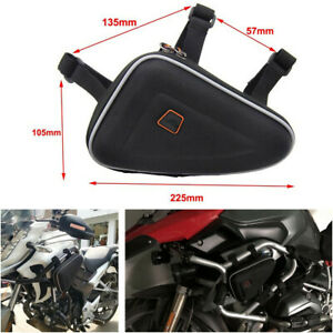 1Pcs Motorcycle Engine Guard Frame Triangle Bag Saddle Pouch Storage Case Black
