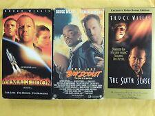 3 Bruce Willis Vhs movies: Armageddon, The Last Boy Scout, The Sixth Sense
