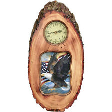 Eagle w/Flag Rustic Picture Frame Wall Clock