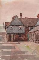 GUILDHALL TOTNES DEVON Victorian Watercolour Painting c1890