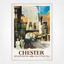 Vintage travel poster railway poster - A4 - Chester Eastgate Clock