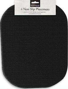 4 x BLACK Anti Non Slip Place Mat 40x30cm Dinner Plate Lap Tray High Chair Table