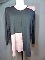 X-Two long sleeve v neck knit top plus size 2X black multi color