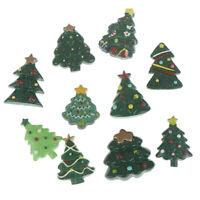 10Pcs Mixed Resin Christmas Trees Cabochon Flatback Decor Crafts EmbellishmenEB