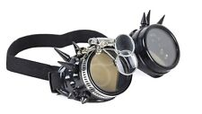 Steampunk Victorian Welding Spike Black Goggles 2X Lens Scissors Cosplay