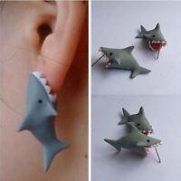 Polymer Clay Cute Cartoon Shark Earrings Stud DIY Handmade  Women Jewelry WB