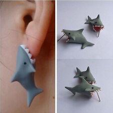 Polymer Clay Cute Cartoon Shark Earrings Stud DIY Handmade  Women Jewelry KZY