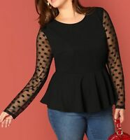 Plus Size Polka Dot Mesh Long Sleeve Round Neck Peplum Blouse Top Casual Work